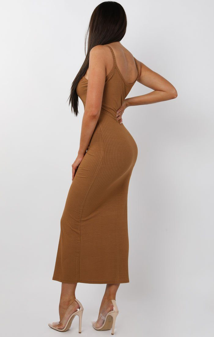 Brown Ribbed Knit Button Detail Maxi Dress - Kaitlyn