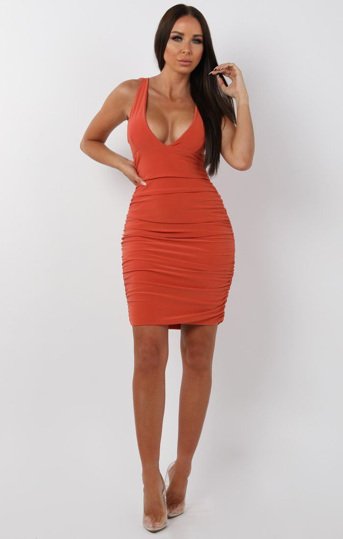 Rust ruched bodycon mini dress - amara