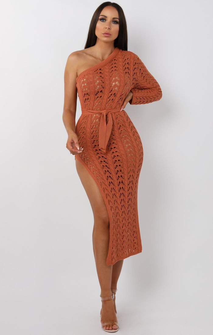Rust Crochet One Shoulder Midi Dress - Armelle