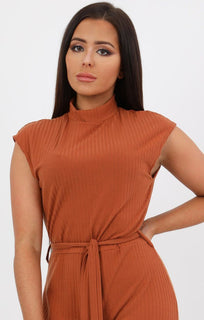 Rust High Neck Ribbed Jumpsuit - Yasmine
