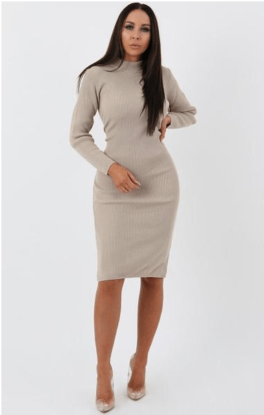 Stone Knitted Ribbed Long Sleeved Midi Dress - Ellis