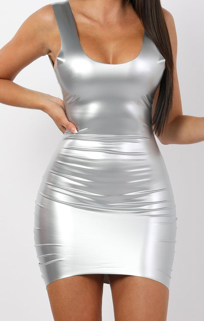 Silver PU Open Back Bodycon Mini Dress - Tasha