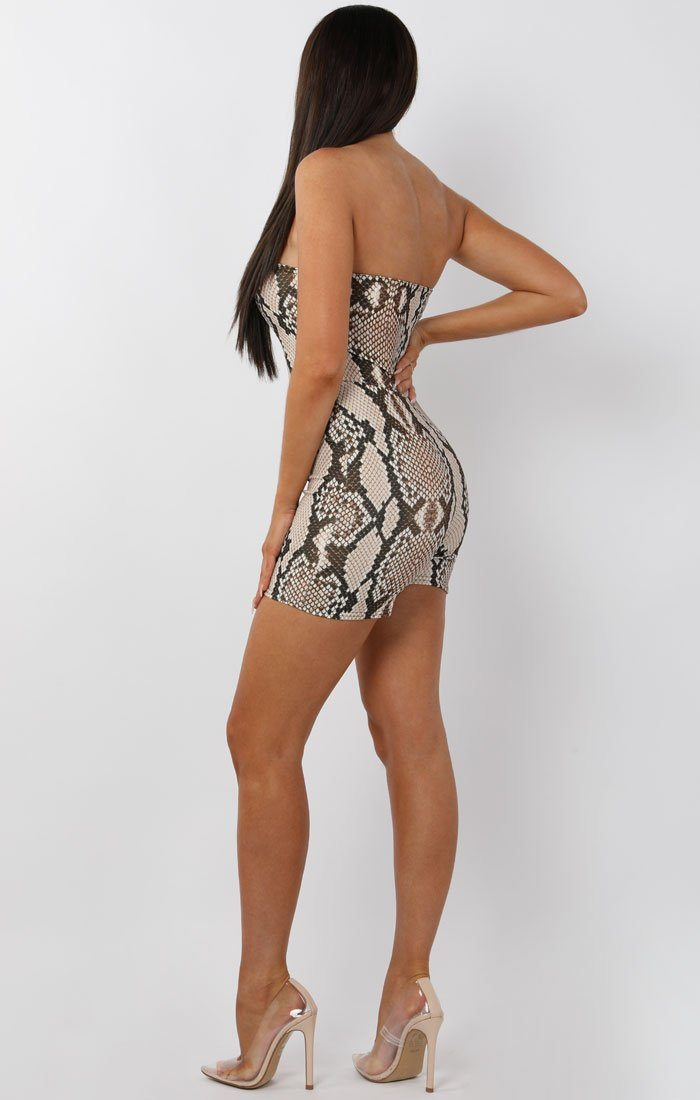 Animal Snake Print Bandeau Playsuit - Pippa