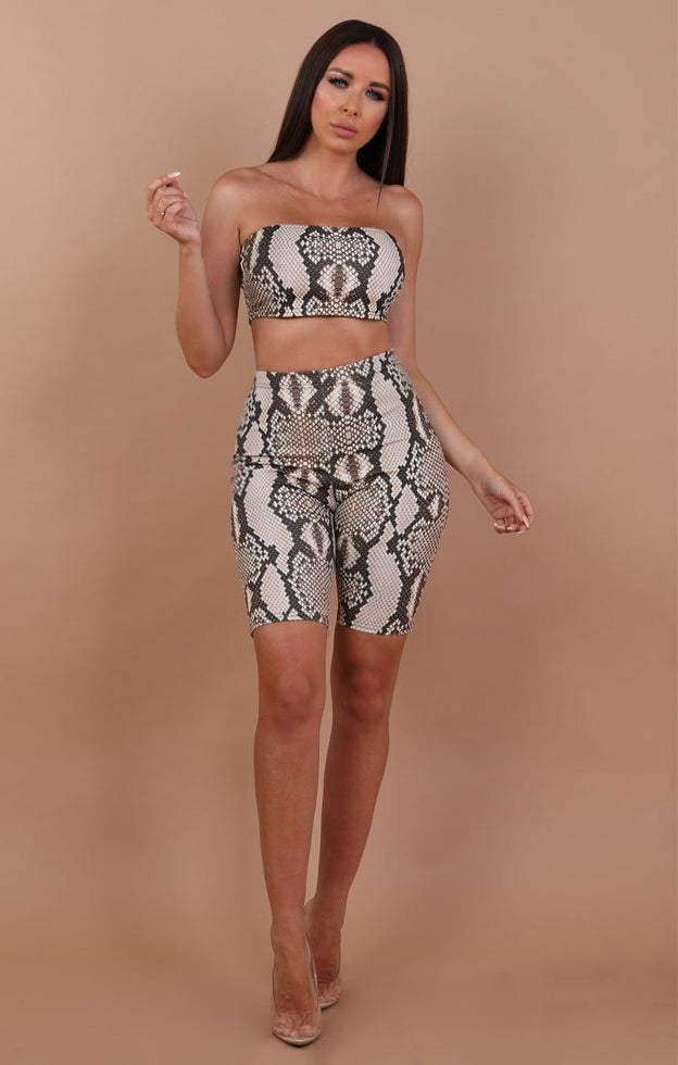 Snake Print Crop and Shorts Two Piece Set - Myla