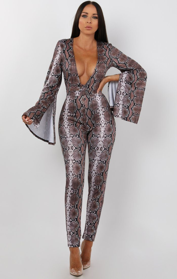 Animal Snake Print Flare Sleeve Jumpsuit - Luelle