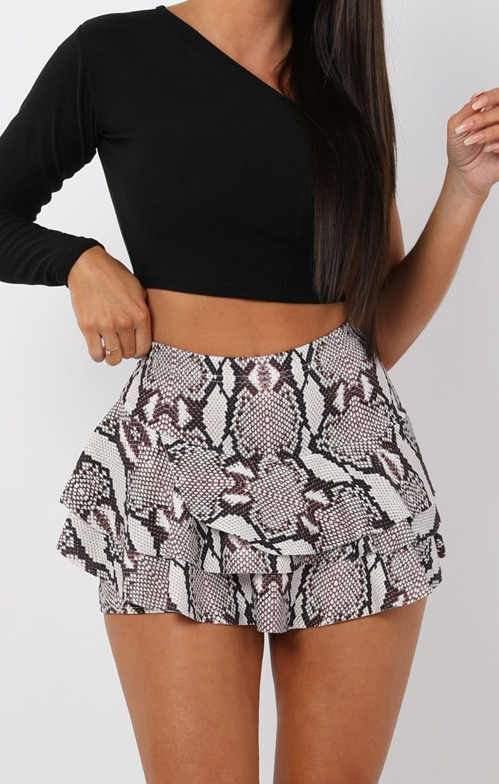 Animal Snake Print Layered High Waist Mini Frill Shorts - Ellie