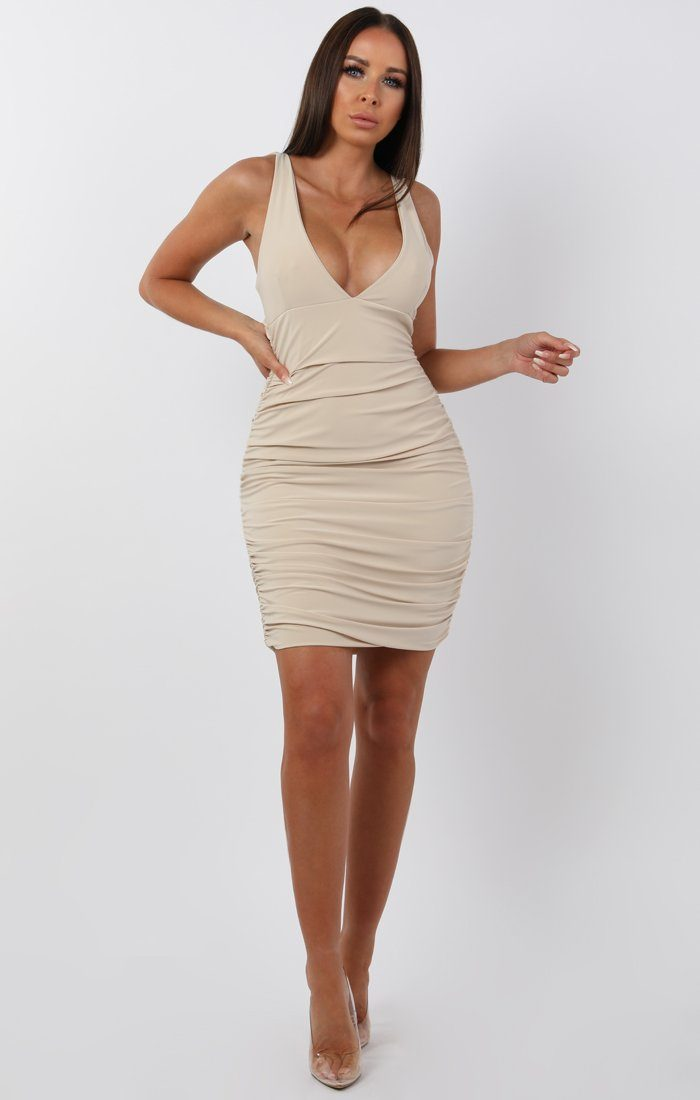 Stone ruched bodycon mini dress - amara