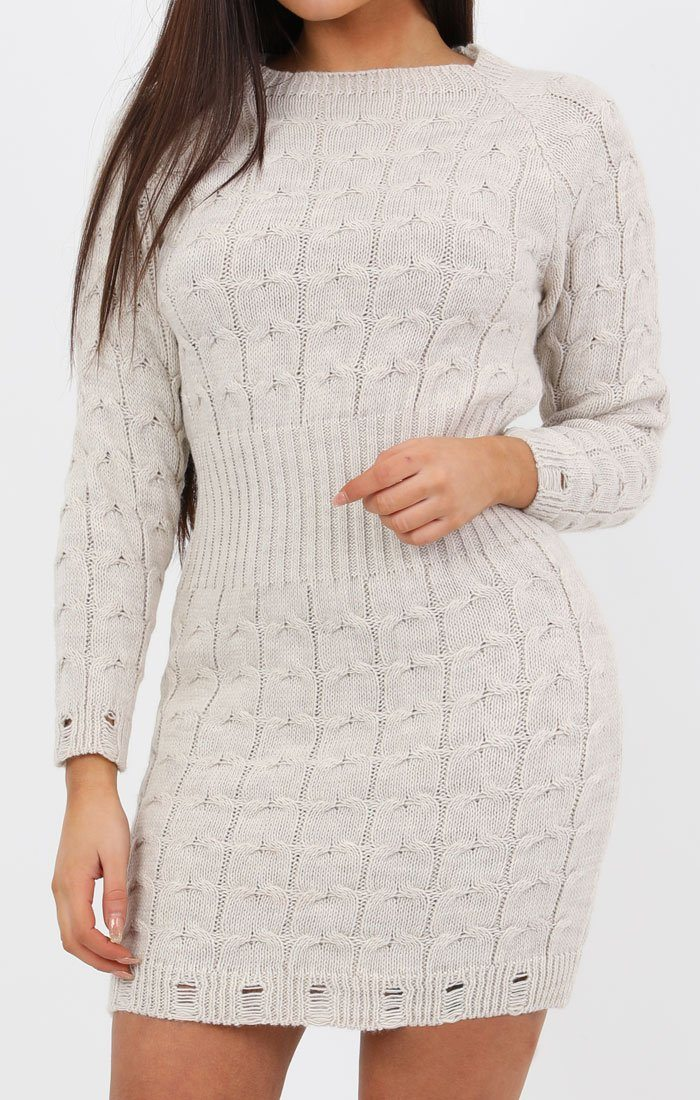 7edfb7444b4 Stone Cable Knit Jumper Dress - Winter