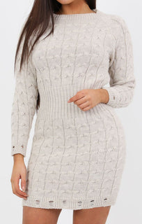 Stone Cable Knit Jumper Dress - Winter