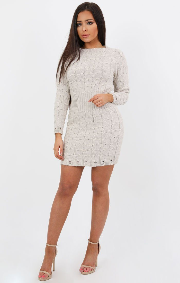 d20abaa5818b Stone Cable Knit Jumper Dress - Winter