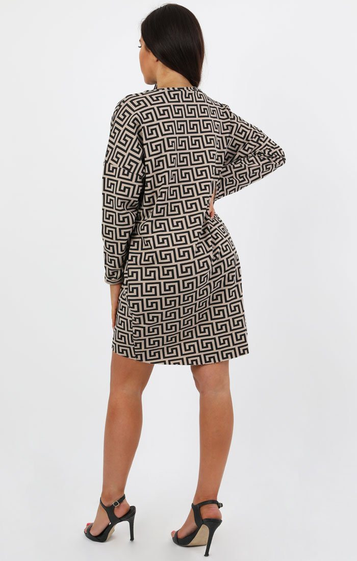 Stone Geometric Print Oversized Jumper Dress - Lucy