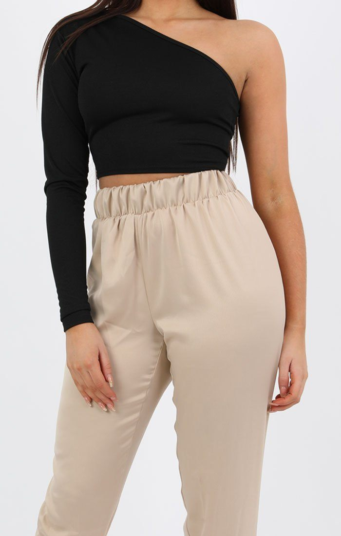 Stone Satin Cuff Trousers - Luna