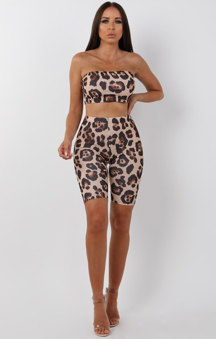 Tan Animal Leopard Bandeau Two Piece Co-ord Set - Bonny