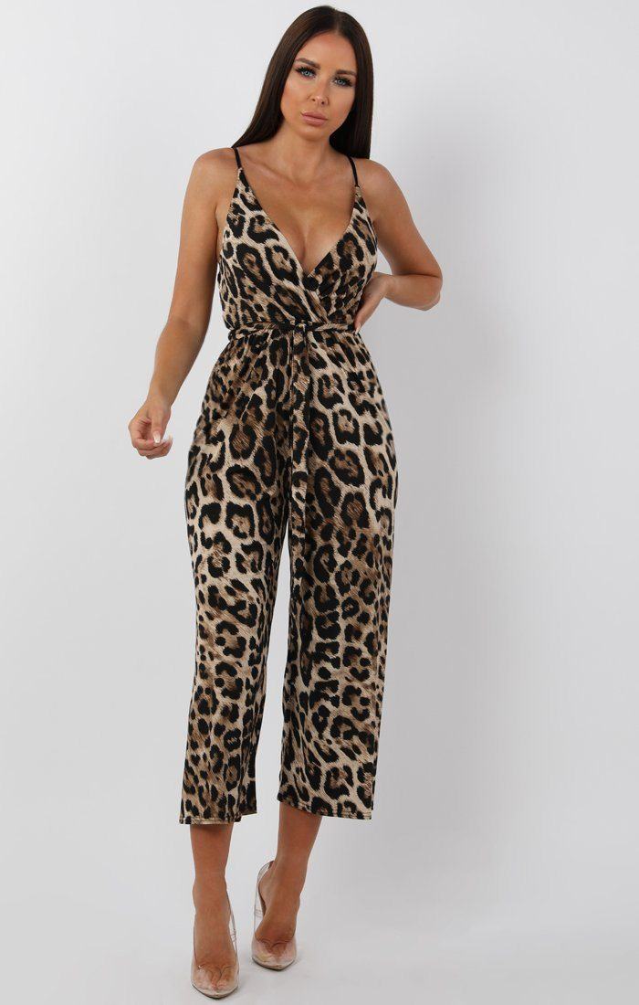 Tan Animal Leopard Print Belted Jumpsuit - Harlow jumpsuits FemmeLuxe