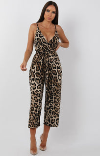 Tan Animal Leopard Print Belted Jumpsuit - Harlow