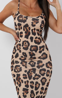 Tan Animal Leopard Print Cami Strap Maxi Dress - Serenna