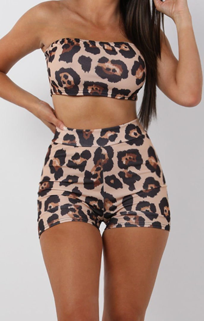 Tan Animal Leopard Print Shorts - Tammy