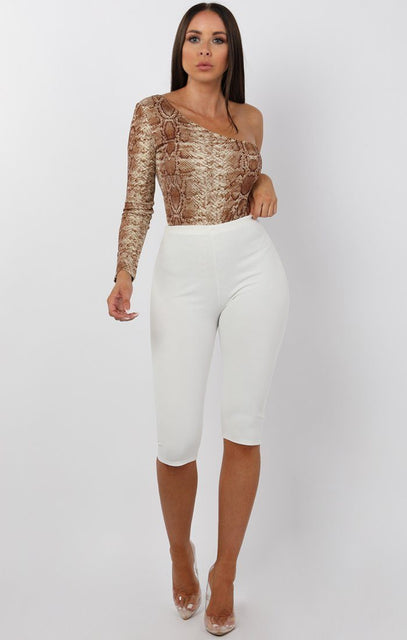 Tan Animal Snake Print One Shoulder Bodysuit- Miya