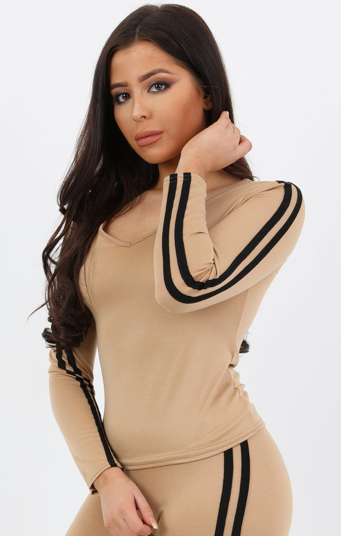 Tan Striped Loungewear Set - Lucy