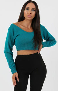 Jade Knit V-Neck Cropped Jumper - Cordelia