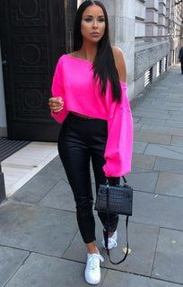Neon Pink Oversized Crop Knit Jumper - Toni