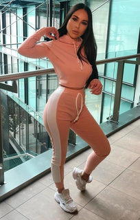 Nude With White Stripe Lounge Wear Set - Lexi