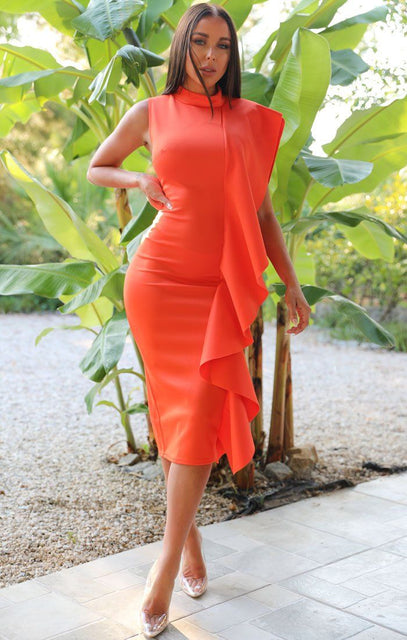 Orange Side Frill Midi Dress - Alice