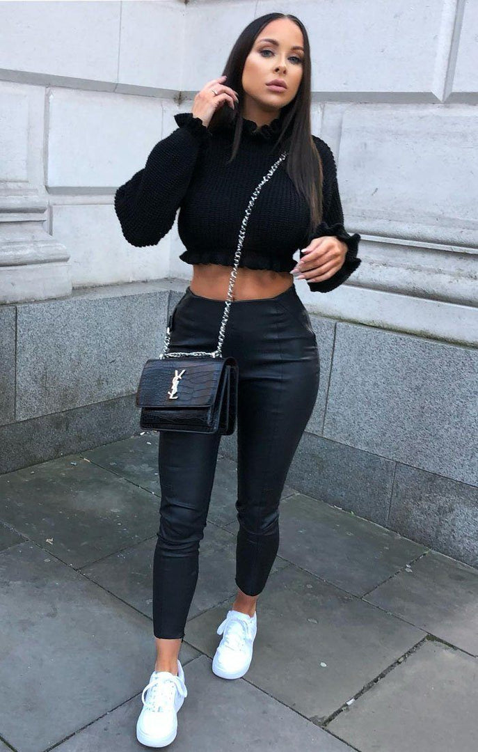 Black Ruffle Hem Chunky Knit Crop Jumper