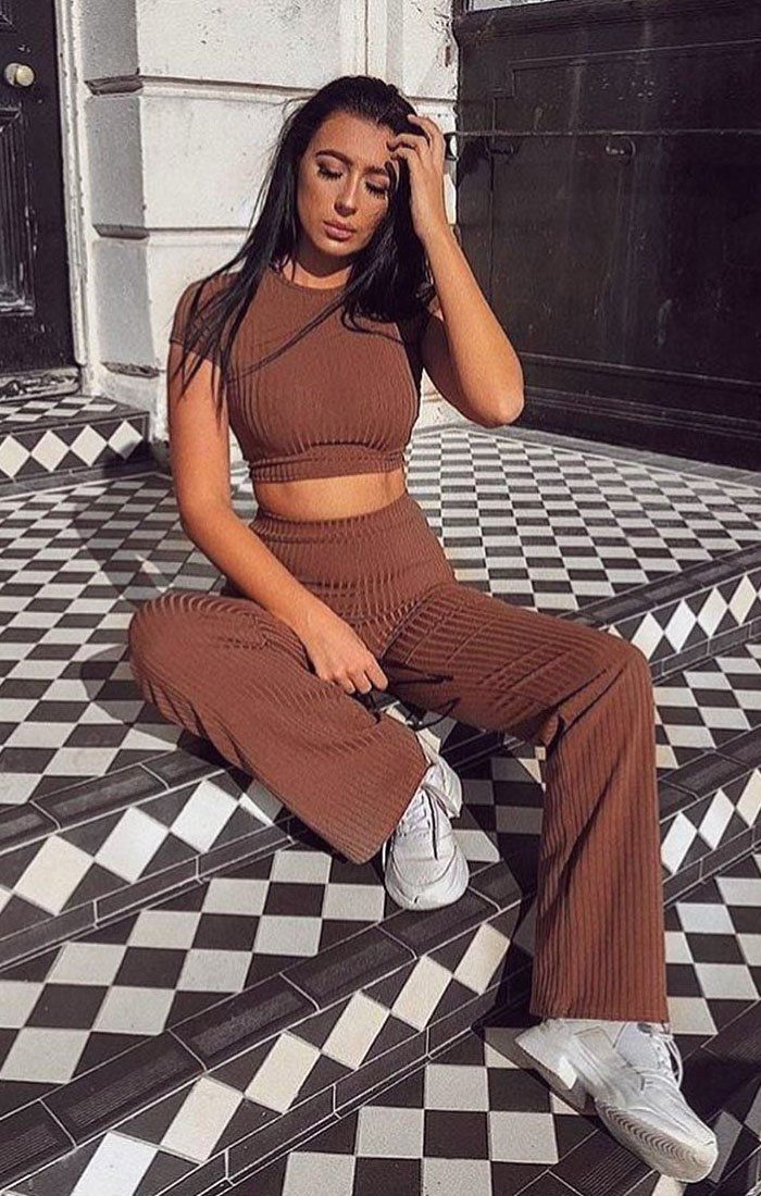Brown Crop Ribbed Two Piece Co-ord Set - Suzi