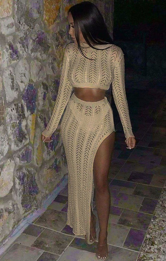 Beige Crochet Long Sleeve Crop Top - Natasha sale FemmeLuxe