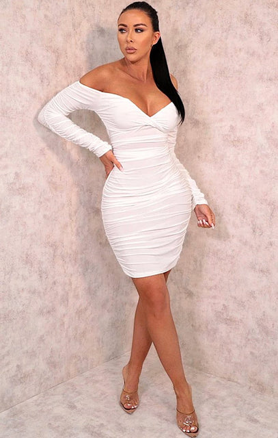White Ruched Bardot Long Sleeve Bodycon Mini Dress - Mindy