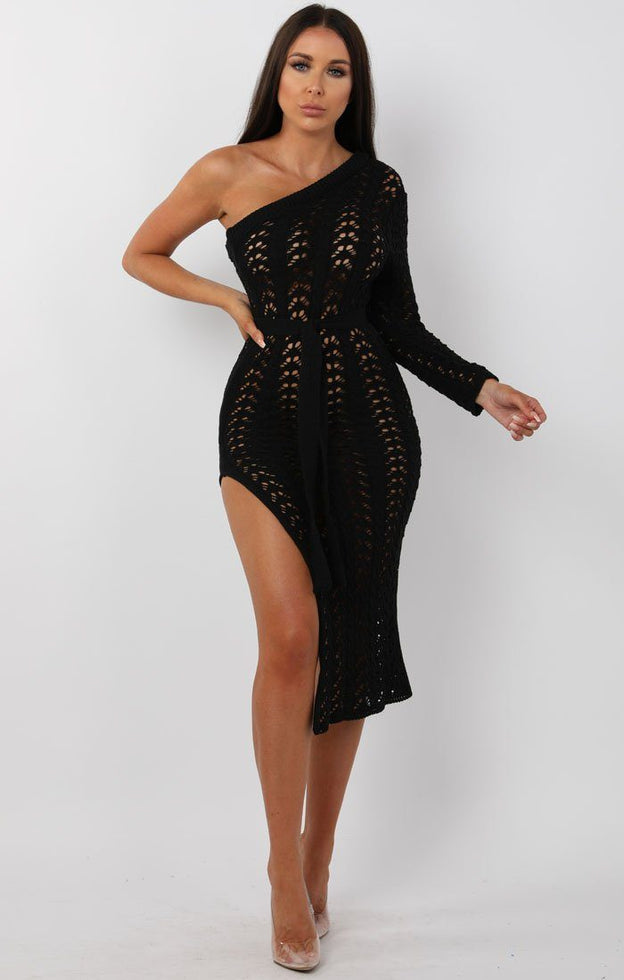 Black-Crochet-One-Shoulder-Midi-Dress-Armelle