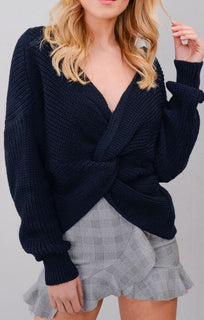Navy Front Wrap Knitted Jumper
