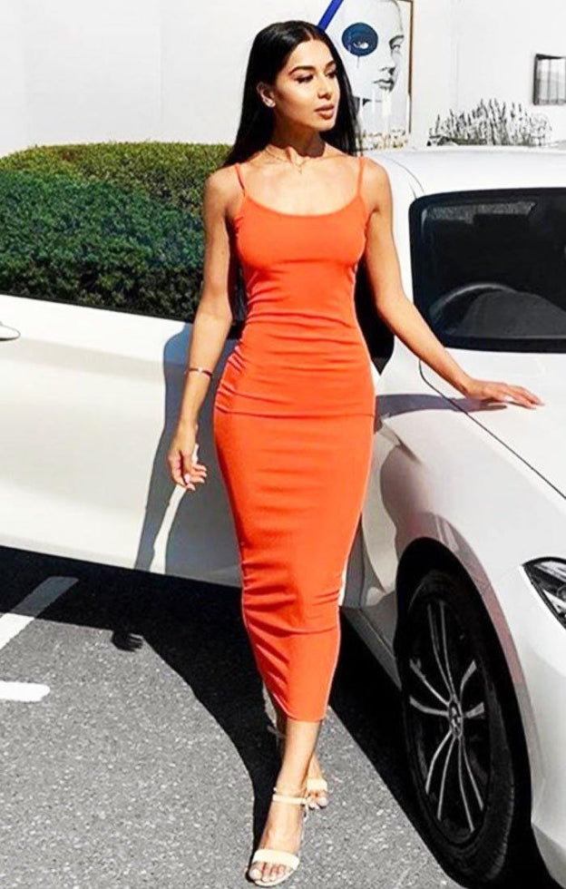 Orange Cami Strap Maxi Dress - Serenna