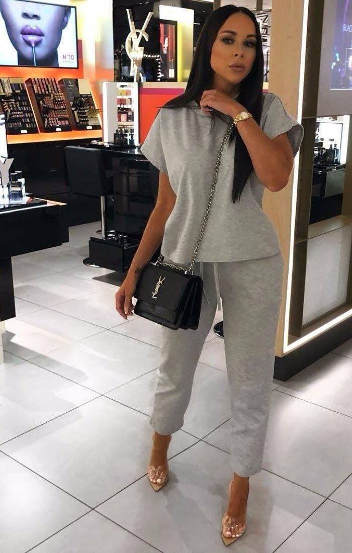 Grey Short Sleeve Boxy Loungewear Set - Lacy