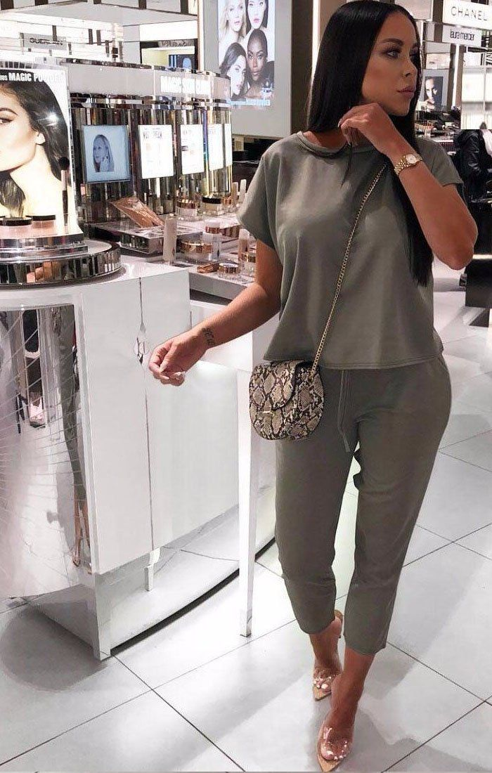 Khaki-Short-Sleeve-Boxy-Loungewear-Set