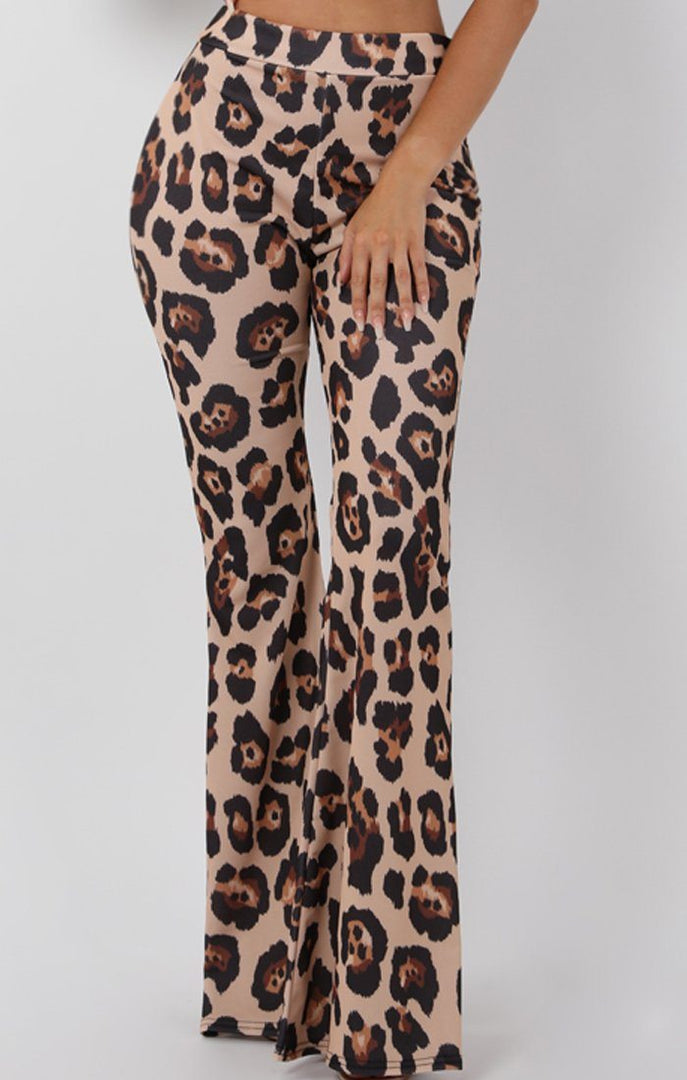 Tan Animal Leopard Print Fit and Flare Trousers - Alana