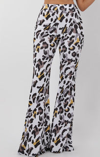 White Animal Leopard Print Fit and Flare Trousers - Alana