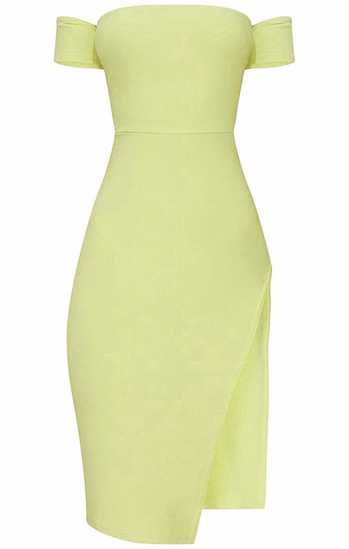 Lime-Cuff-Detail-Split-Side-Midi-Dress-Jennifer