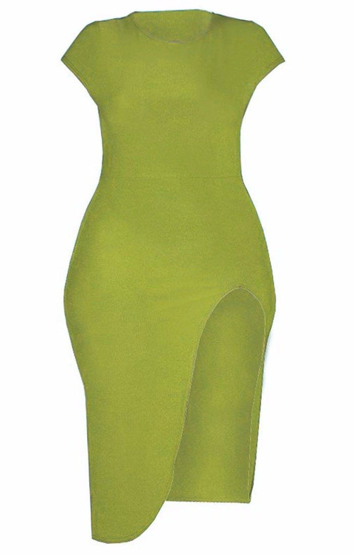 Lime Extreme Split Cap Sleeve Midi Dress - Eliana