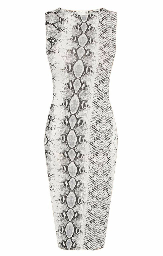 Animal Snake Print High Neck Bodycon Midi Dress - Lucy