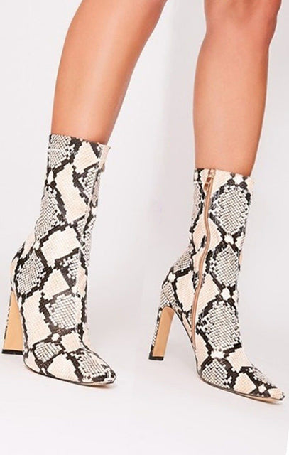 Brown Animal Snake Print Heeled Boots - Hannah