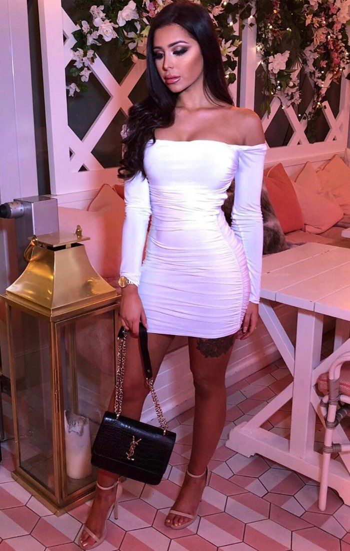 b52f8db1bc2 White Slinky Square Neck Ruched Bodycon Dress - Cristbal