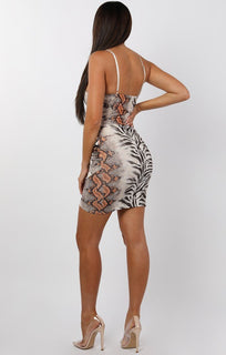 White Animal Print Cami Frill Mini Dress - Yvette