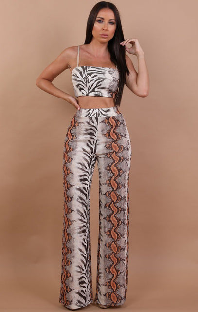 White Animal Print Contrast Two Piece Co-ord Set - Zahira
