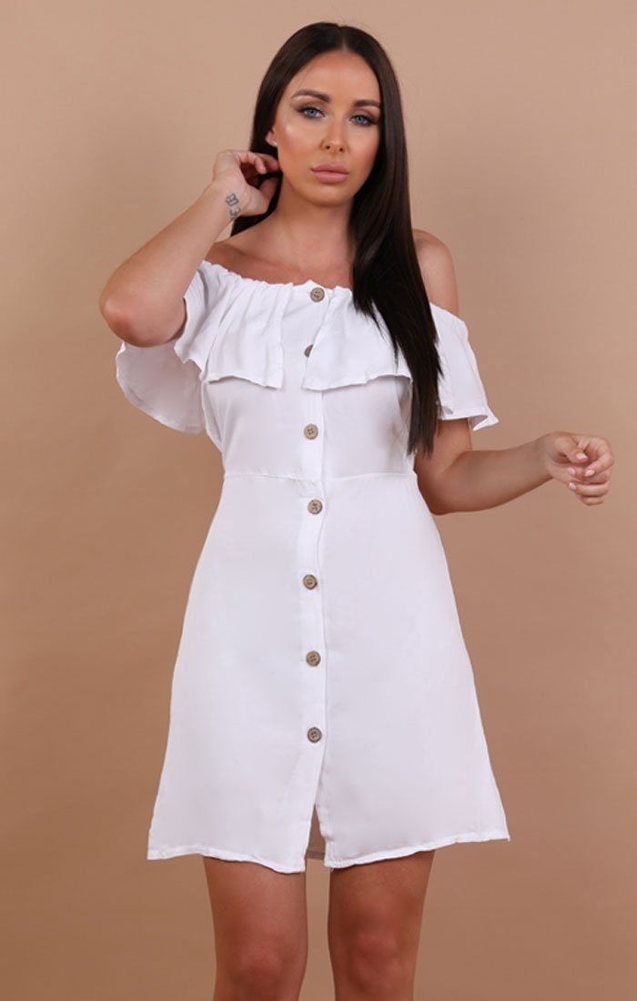 White Barbot Button Up Tea Dress - Rebecca