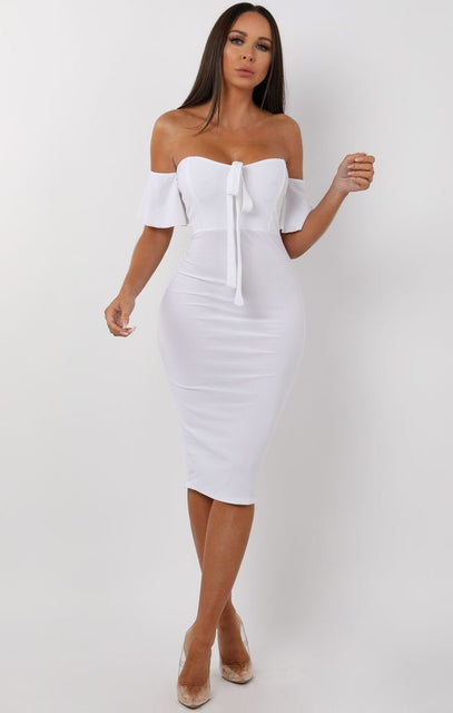 White Bardot Bow Front Midi Dress - Effie