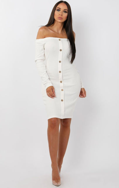 White Bardot Button Front Bodycon Dress - Lyric