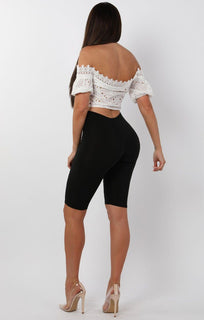 White Bardot Embroidery Crop Top - Saphina