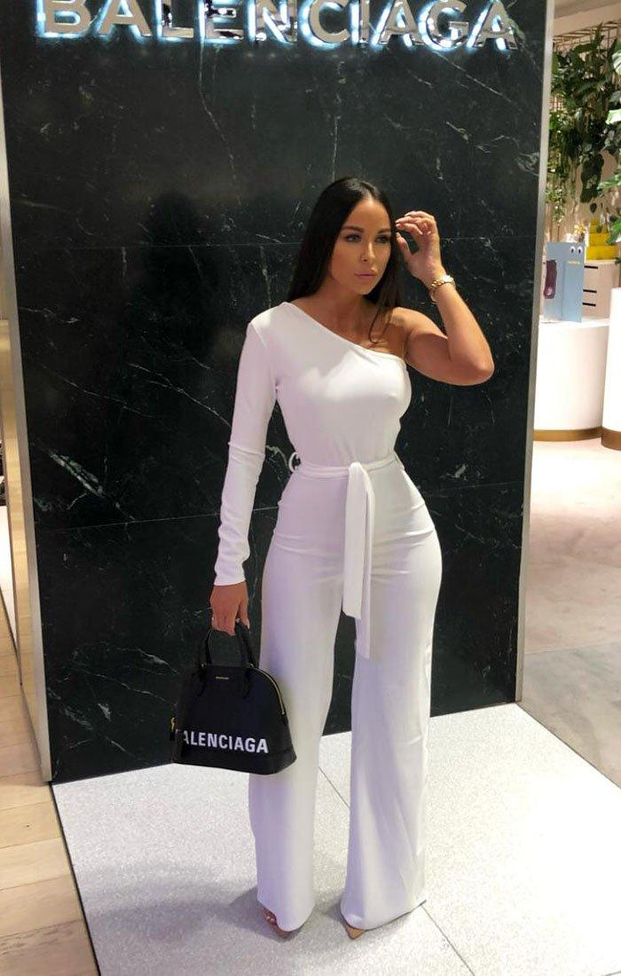 151484a03 White Belted One Shoulder Jumpsuit | Jumpsuits | Femme Luxe